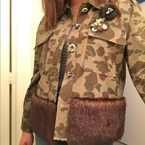 Camo Aplique Fur Jacket